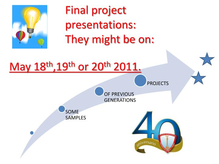 Final project presentations: