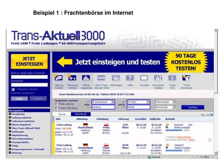 Beispiel 1 : Frachtenbörse im Internet