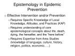 epistemology in epidemic prevention