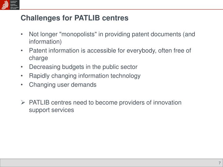 Challenges for PATLIB centres