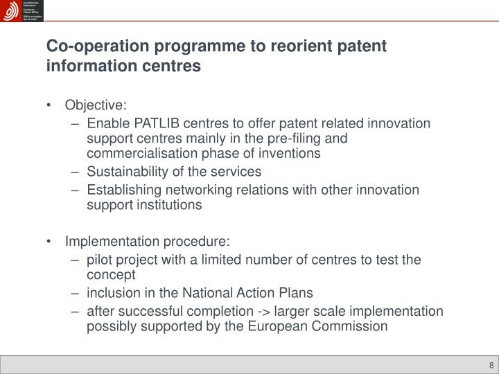 Co-operation programme to reorient patent information centres