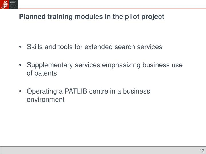 Planned training modules in the pilot project