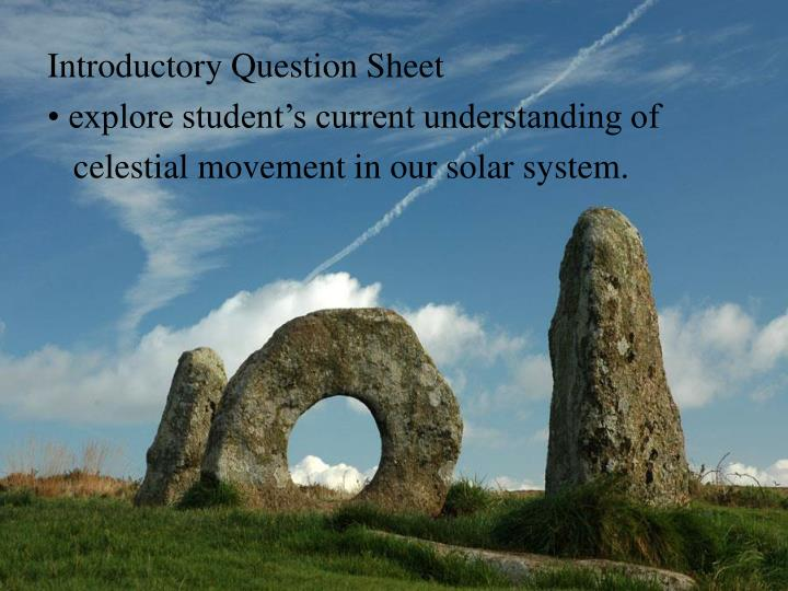 Introductory Question Sheet