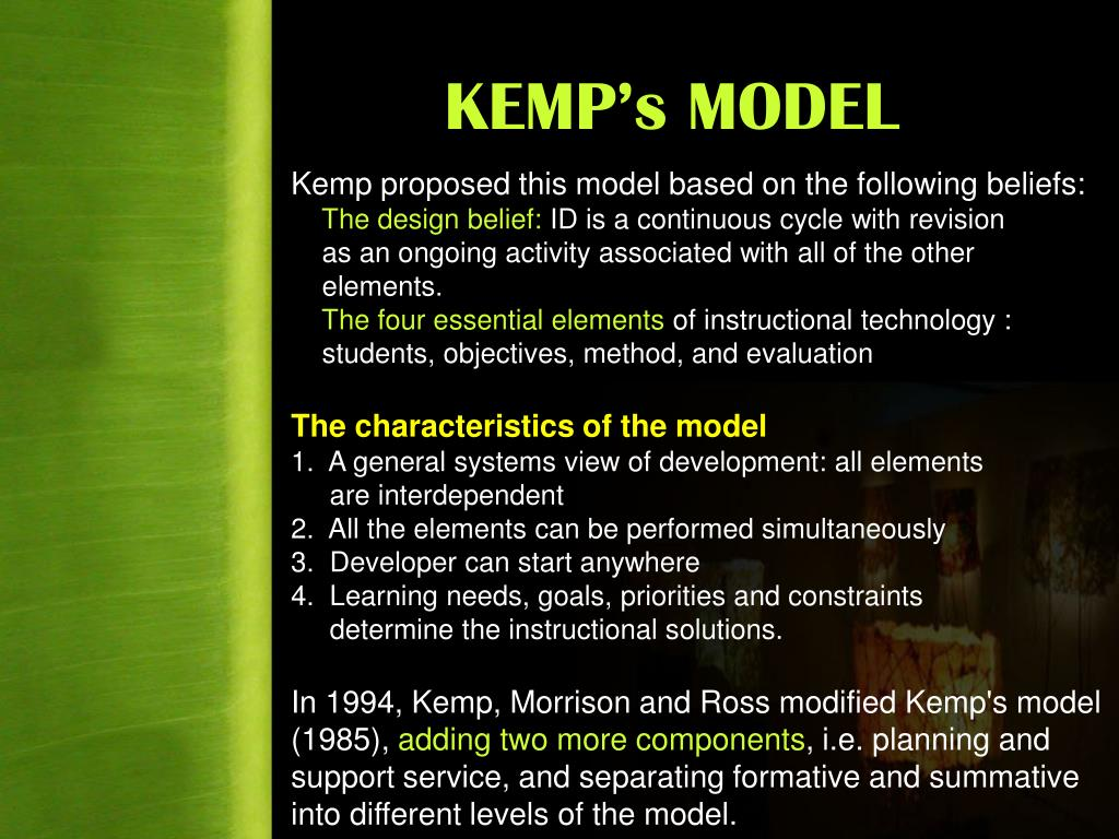 Ppt Qim 501e Instructional Design Delivery Jerrold Kemp Instructional Design Model Powerpoint Presentation Id 1329758