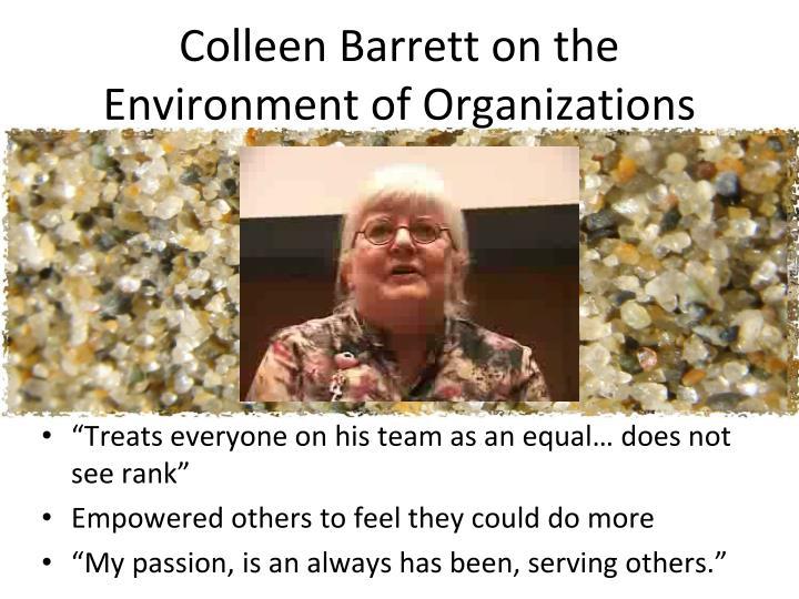 Colleen Barrett on the Environment of Organizations