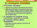 b etiologies f minines