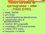 valeurs normales du spermogramme selon l oms 1992