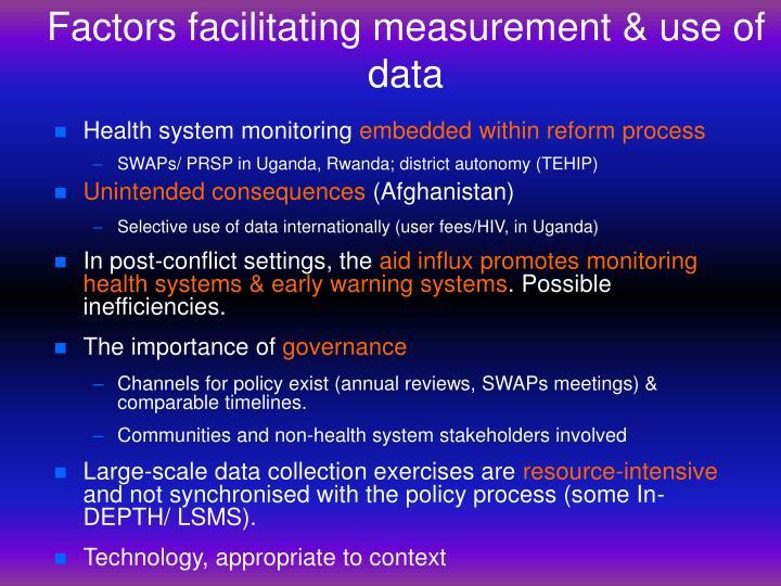 Factors facilitating measurement & use of data
