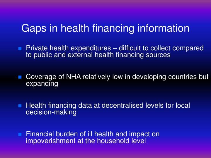Gaps in health financing information