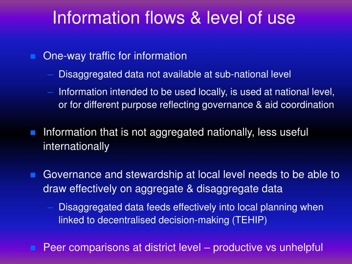 Information flows & level of use