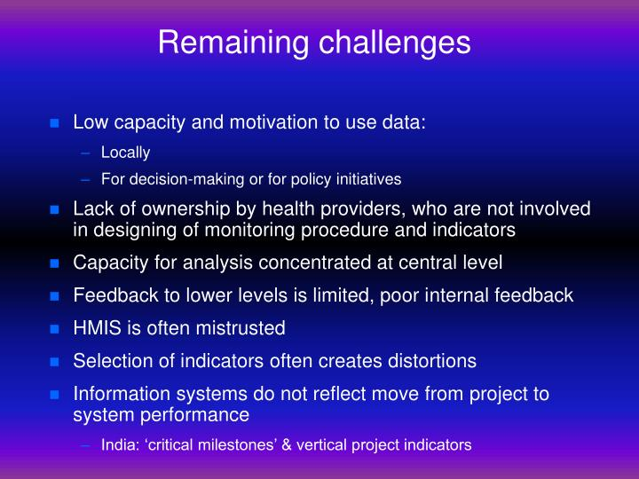 Remaining challenges