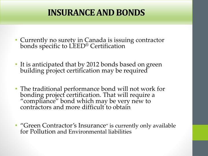 INSURANCE AND BONDS