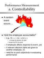 performance measurement a controllability