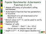 popular benchmarks ackermann s function 1 of 2