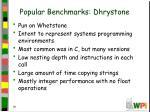 popular benchmarks dhrystone