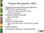 popular benchmarks spec
