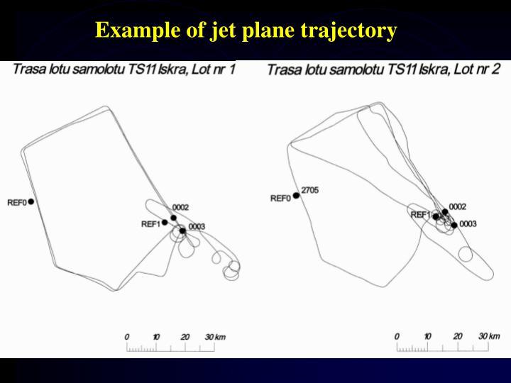 Example of jet plane trajectory