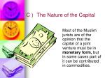 c the nature of the capital
