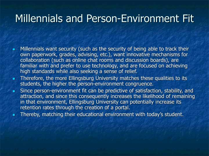 Millennials and Person-Environment Fit