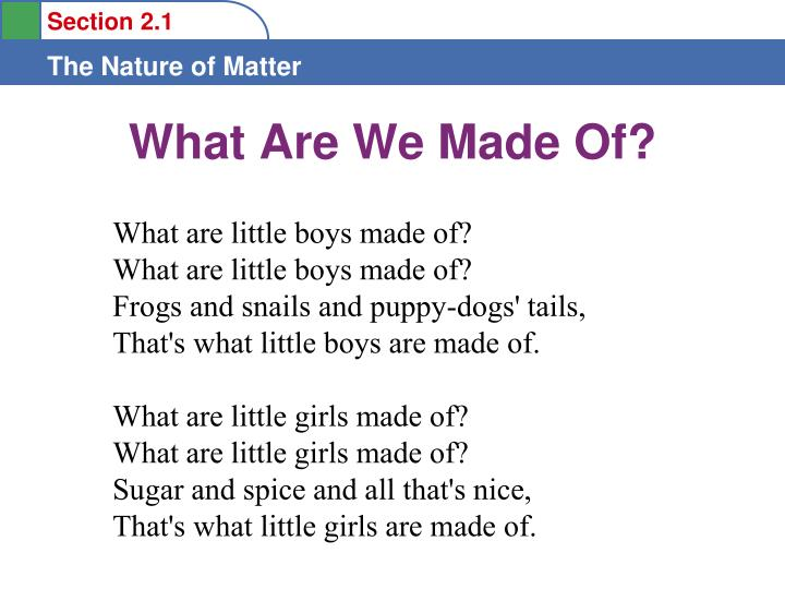 what are we made of n.