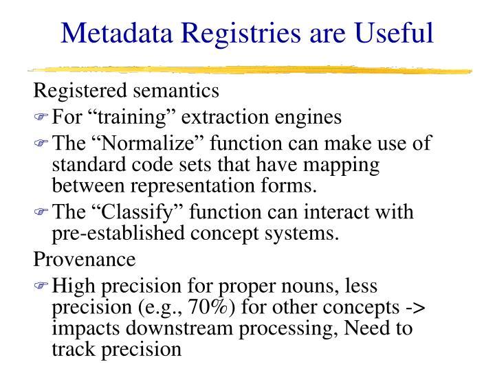 Metadata Registries are Useful