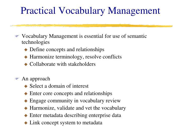 Practical Vocabulary Management