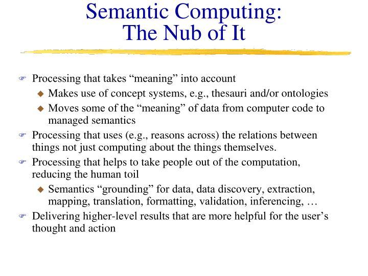 Semantic Computing: