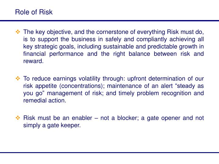 Role of Risk
