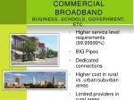 commercial broadband business schools government etc