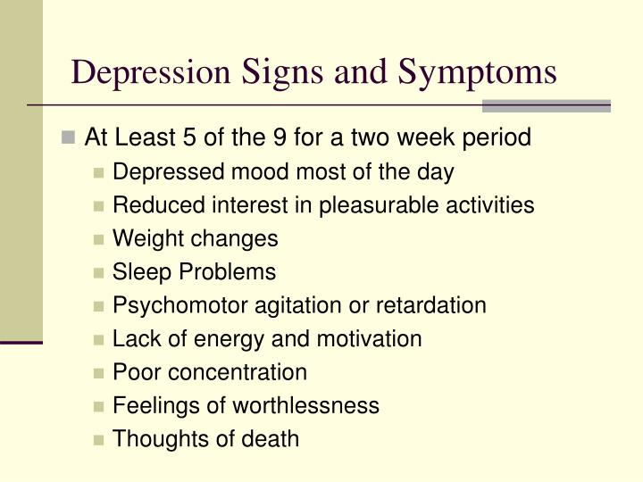 Depression signs and symptoms