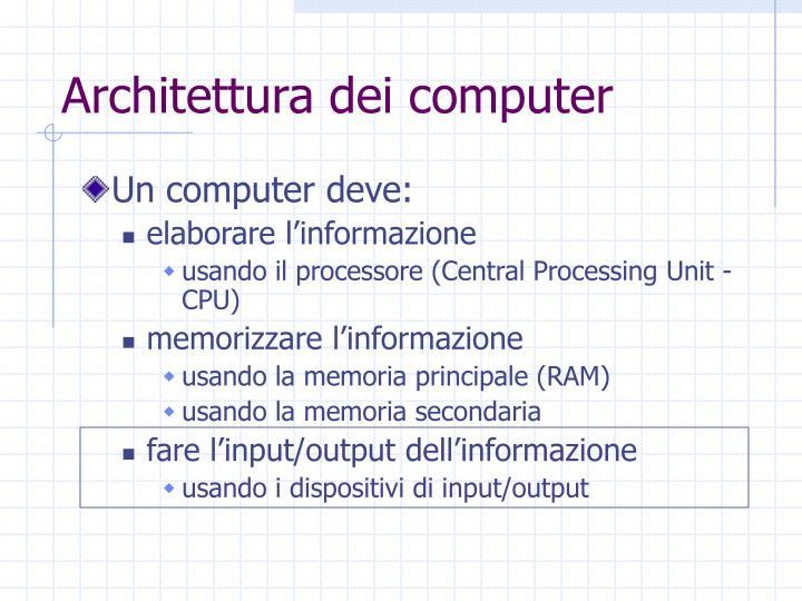 Architettura dei computer