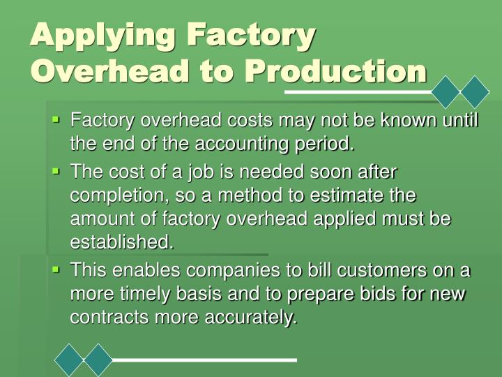 Applying Factory Overhead to Production