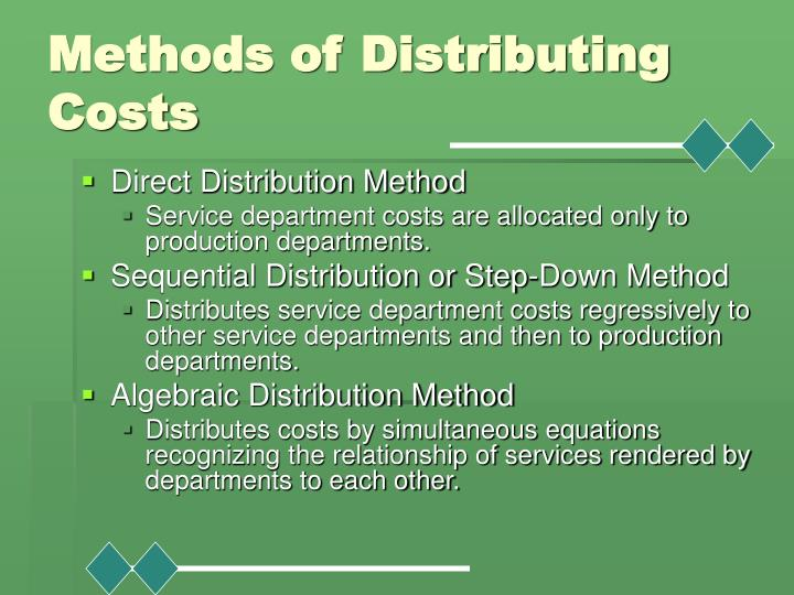 Methods of Distributing Costs