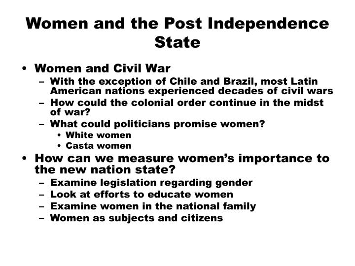 women and the post independence state n.