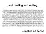 and reading and writing