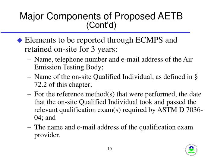 Major Components of Proposed AETB