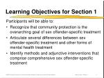 learning objectives for section 1