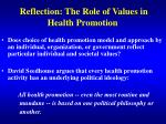 reflection the role of values in health promotion