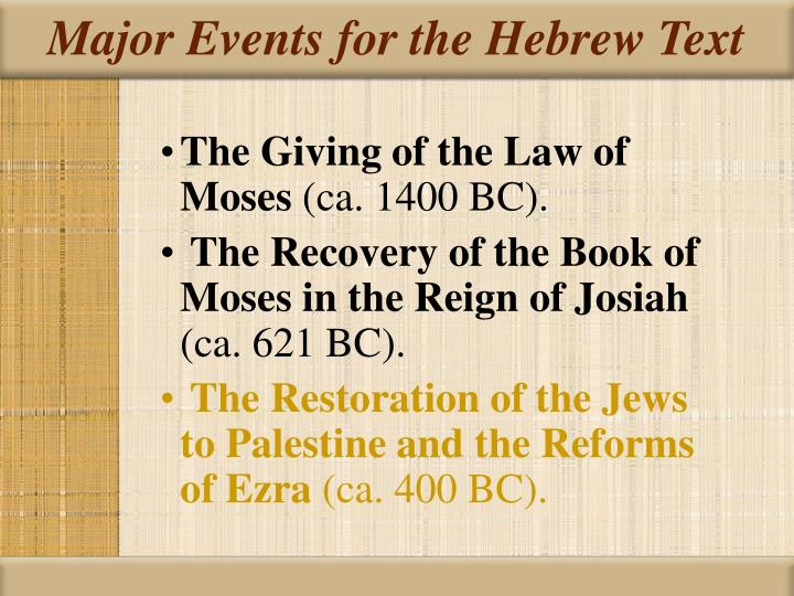 Major Events for the Hebrew Text