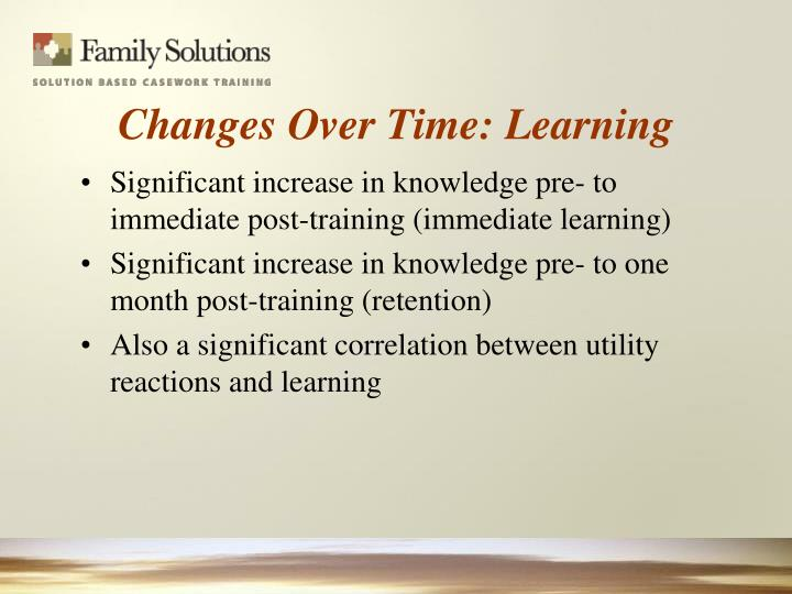 Significant increase in knowledge pre- to immediate post-training (immediate learning)