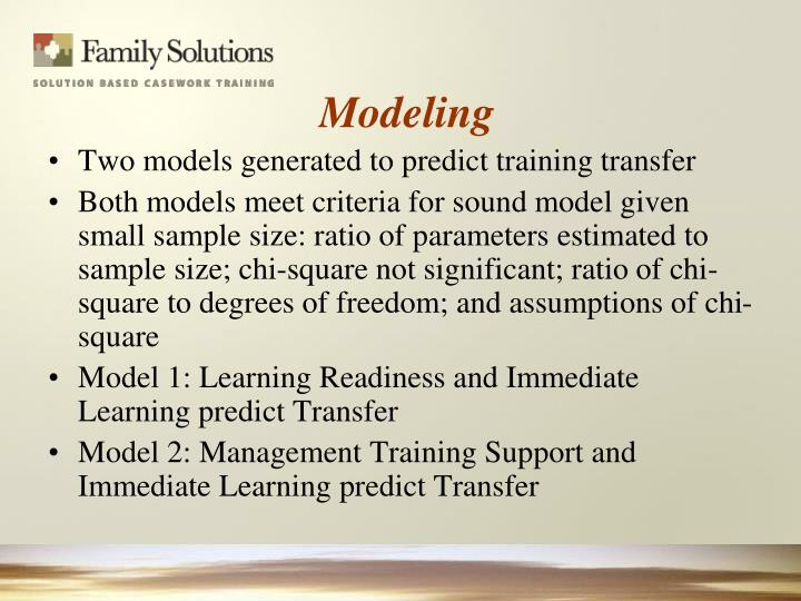 Two models generated to predict training transfer