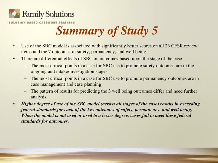 Summary of Study 5