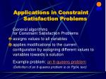 applications in constraint satisfaction problems