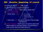 ida iterative deepening a search