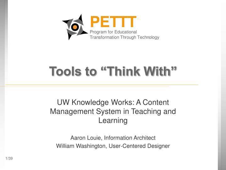 Tools to think with