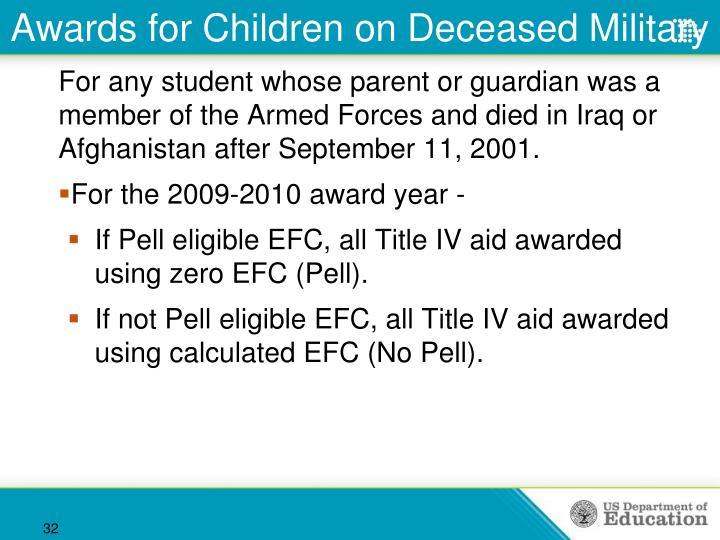 Awards for Children on Deceased Military