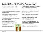 india u s a win win partnership