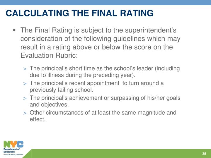 CALCULATING THE FINAL RATING