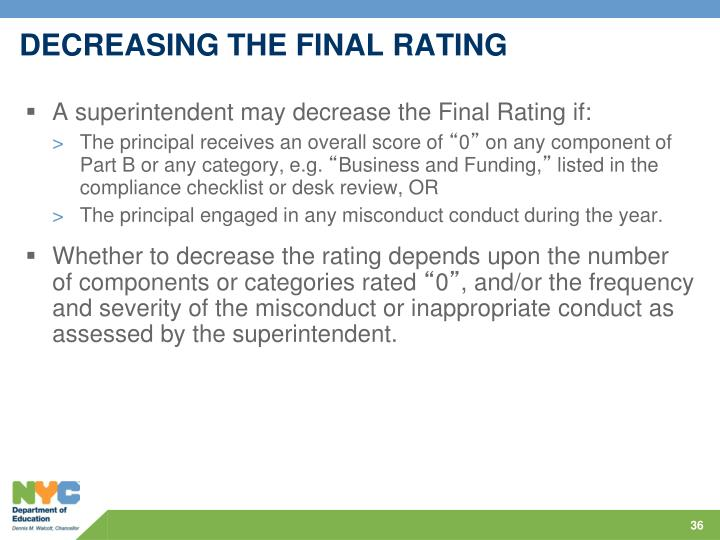 DECREASING THE FINAL RATING