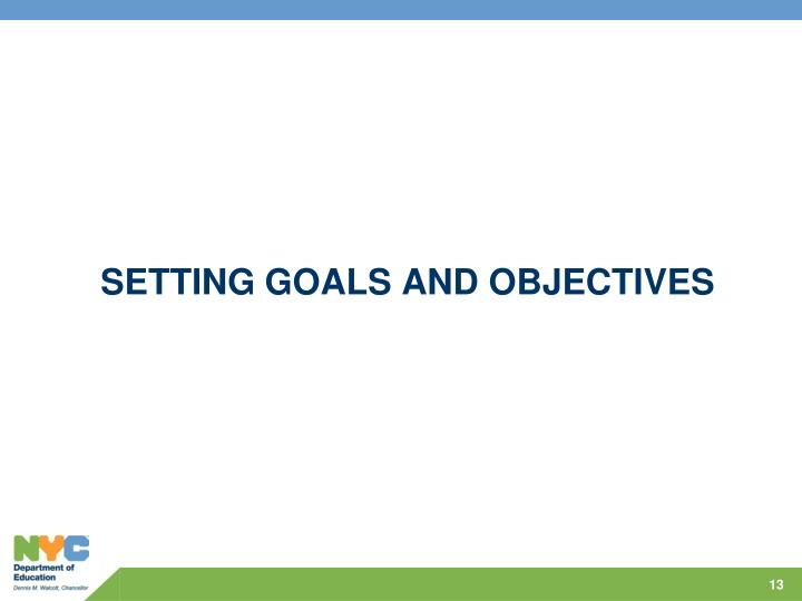 Setting GOALS AND OBJECTIVES